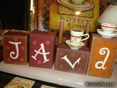 Coffee decorations java and coffee time decorative items for Cafe themed kitchen ideas