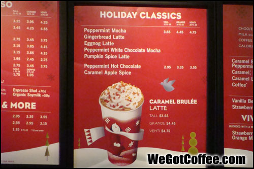 Starbucks Holiday Drink List