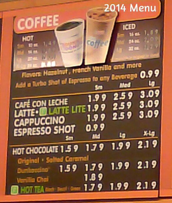 Dunkin Donut Coffee Prices in 2014