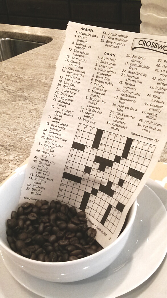 Interior decorating with coffee beans and crossword puzzle for Interior designs xword