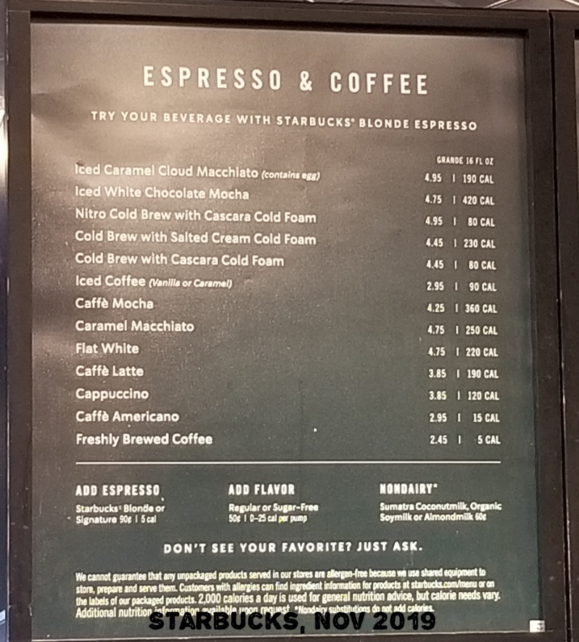 Starbucks Drink Menu 2019