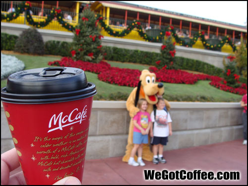 McCafe Coffee Posing with Pluto and Chip and Dale Disney World