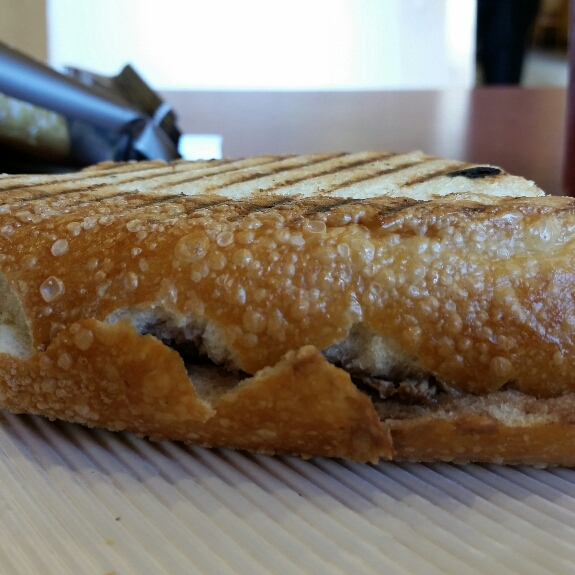 The Steak and White Cheddar Panini at Panera Bread