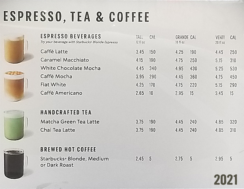 Starbucks 2021 Menu and Prices – Tall Grande Venti